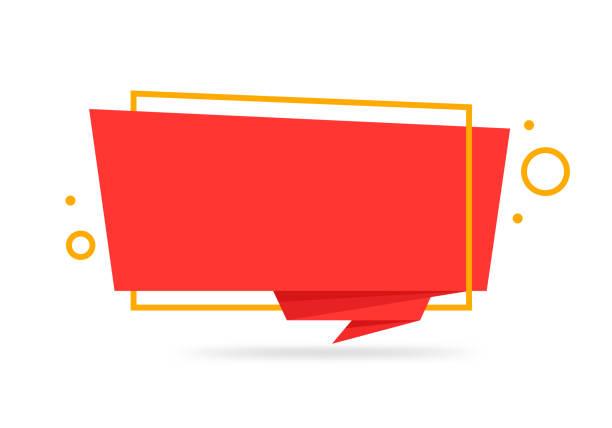 ilustrações, clipart, desenhos animados e ícones de origami estilo adesivo e banner modelo projeto colorido. isolado no fundo branco. em branco para seu texto, web site e projeto - tag