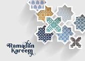 Colorful ornamental arabic tiles, patterns through white cut out stars, long shadows. Greeting card, invitation for Muslim holiday Ramadan Kareem. Vector illustration bacground, modern web banner.