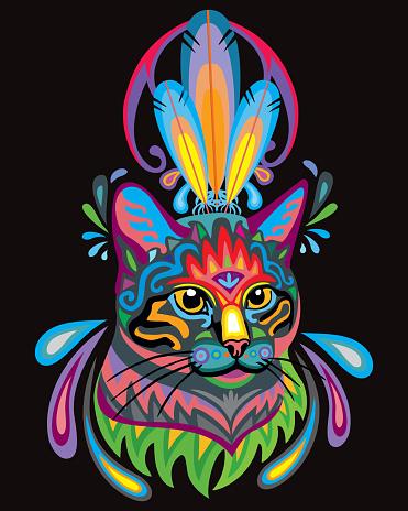 Colorful ornamental cat 3