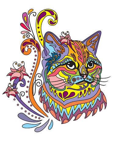 Colorful ornamental cat 6