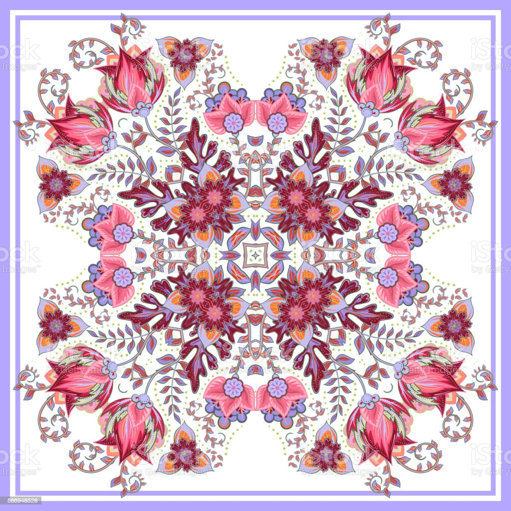 Colorful ornamental floral paisley shawl, bandanna. Square pattern. vector art illustration