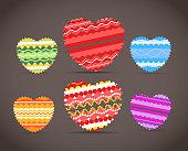 Colorful ornamental hearts