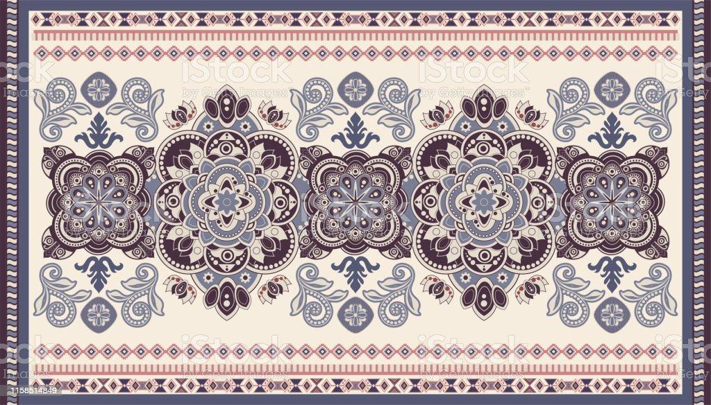 Colorful Ornamental Vector Design For Rug Carpet Tapis Persian Rug