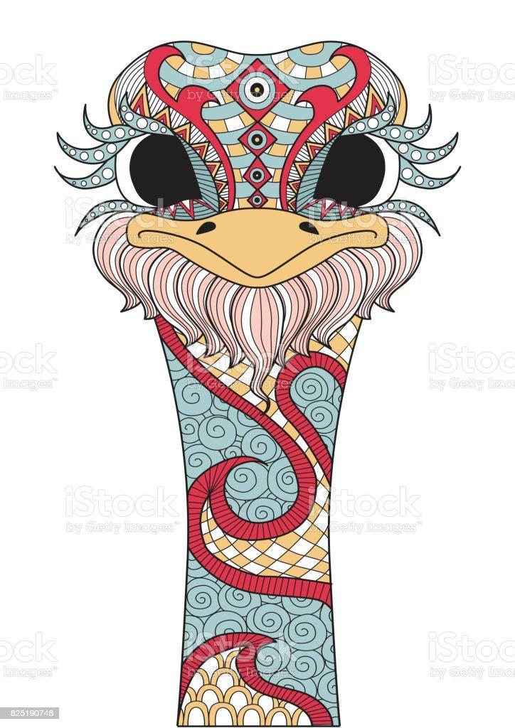 avestruz colorido - ilustração de arte em vetor