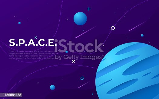 Colorful outer space abstract background, design, banner, artwork Vector illustration