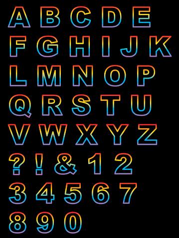 Colorful Outline Alphabet