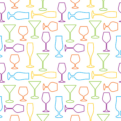 Colorful Outlined Cocktail Glasses Seamless Pattern