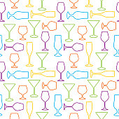 Vector seamless pattern of colorful outlined cocktail glasses on a white background.
