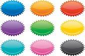 Vector illustration of nine colorful oval emblems.