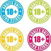 Colorful Over 18 Adults Only Stamp Labels