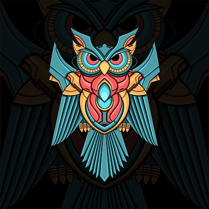 colorful owl ornament illustration with mecha style