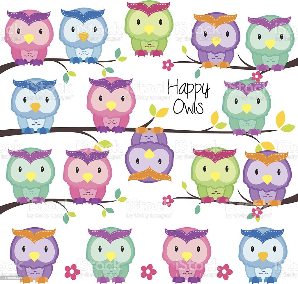 colorful owls set royalty-free colorful owls set stock vector art & more images of animal
