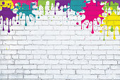 Color paint splash, rainbow spray , multicolored splatter grunge painted white brick wall background. Colorful textured street art backdrop vector illustration with copy space.