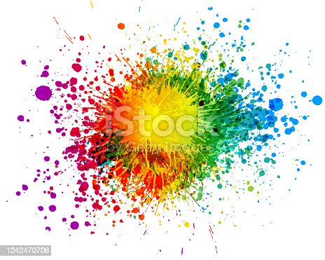 Bright rainbow colored paint splatter background