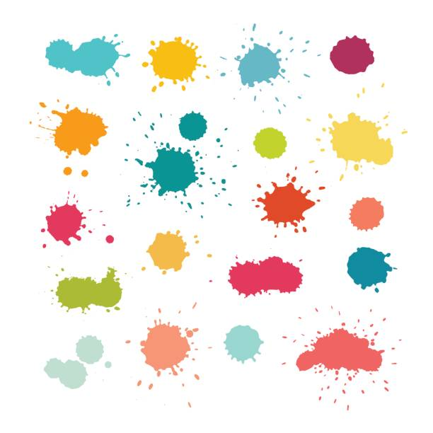 Colorful paint splashes and drops vector Colorful paint splashes and drops. Abstract watercolor splatters. Isolated vector illustration on white background splattered stock illustrations