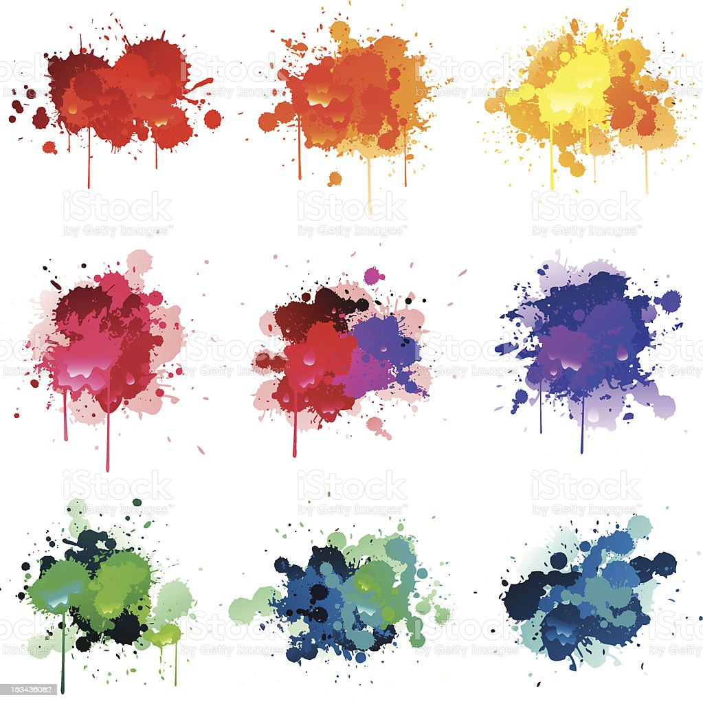 Colorful paint splat vector art illustration
