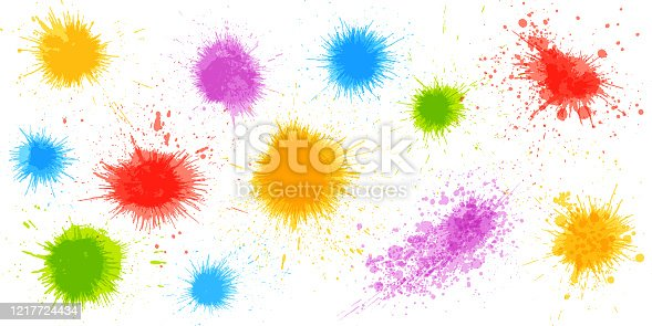 Rainbow paint splatters and design elements