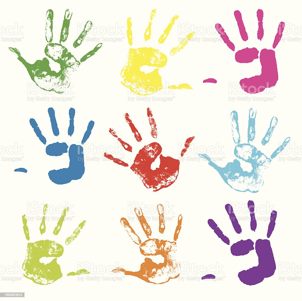 Colorful painted handprints on a white background vector art illustration