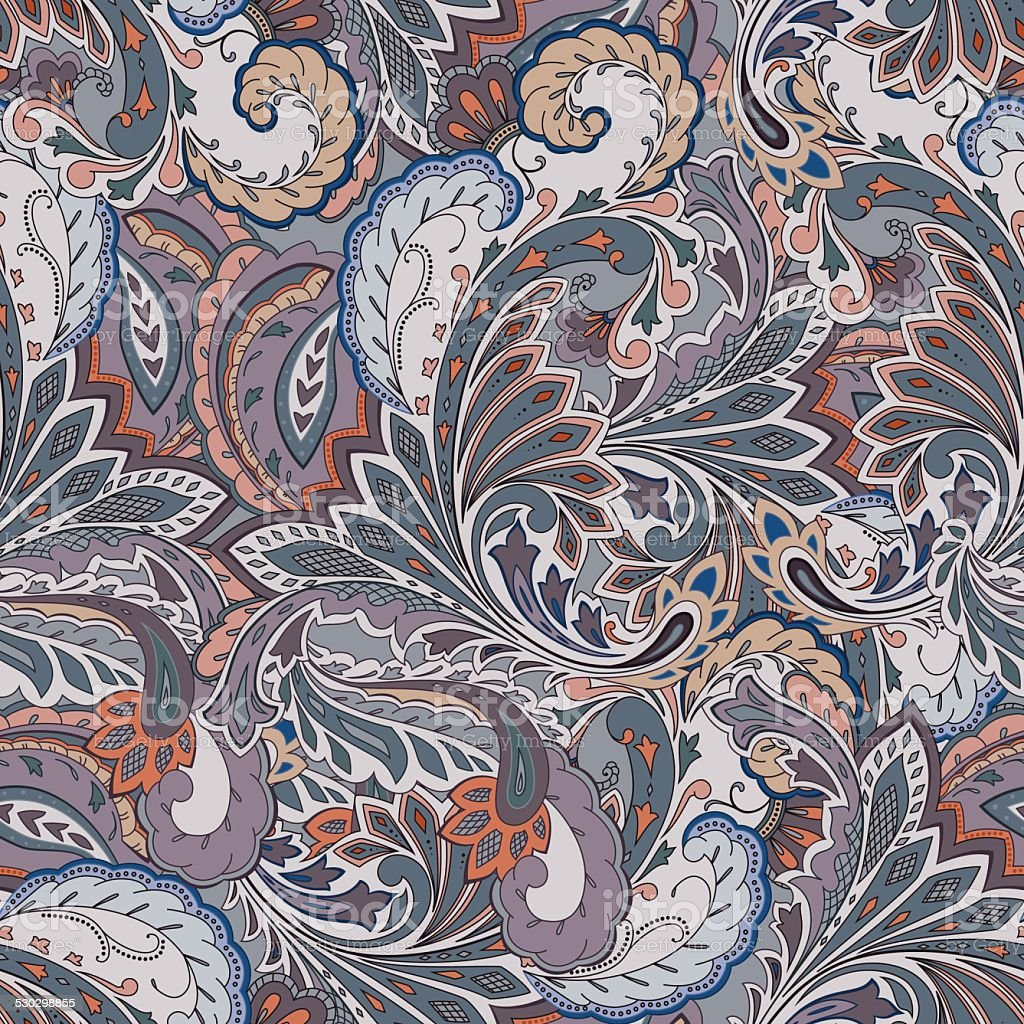 Colorful Paisley Seamless Background Stock Illustration ...