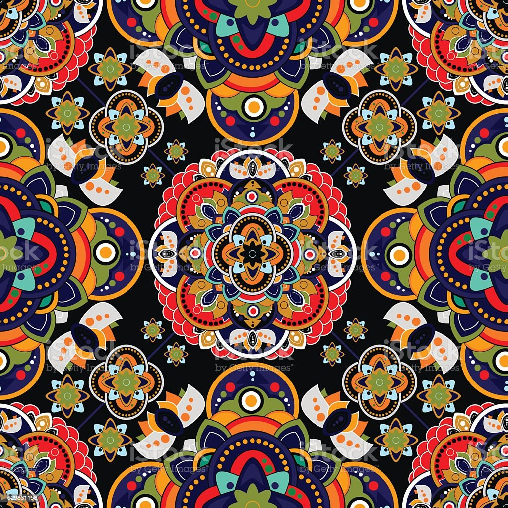 Ilustración De Colorful Paisley Seamless Pattern Indian