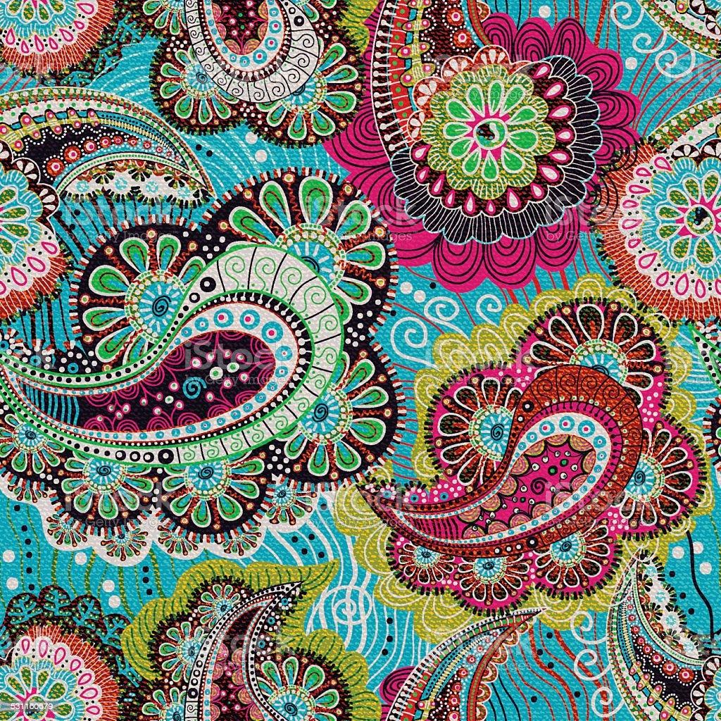 Colorful paisley seamless pattern vector art illustration