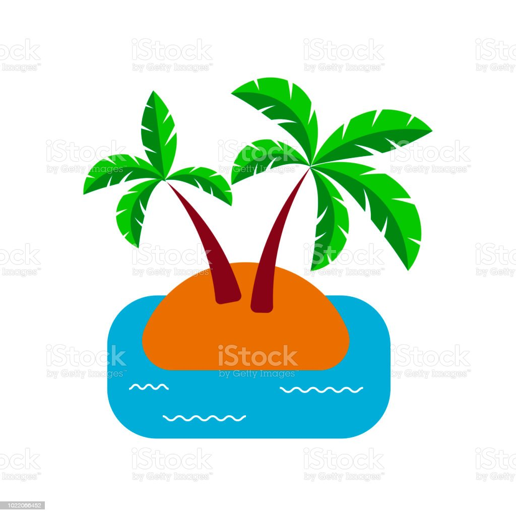 Colorful Palm Icon Isolated On White Travel Icon Vacation