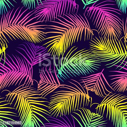 Colorful palm leaves seamless vector pattern. Tropical neon gradient background. Futuristic digital vector wallpaper. Vaporwave, retrowave, cyberpunk aesthetics.