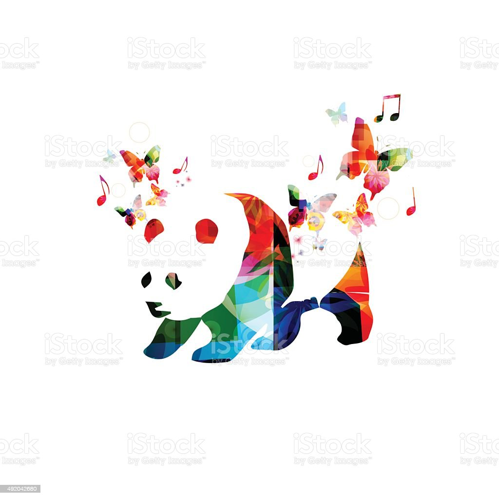 colorful panda design with butterflies stock vector art more