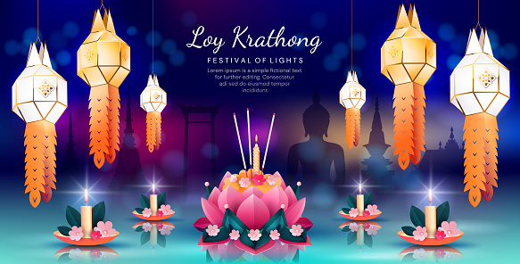 Colorful panorama banner for Loy Krathong