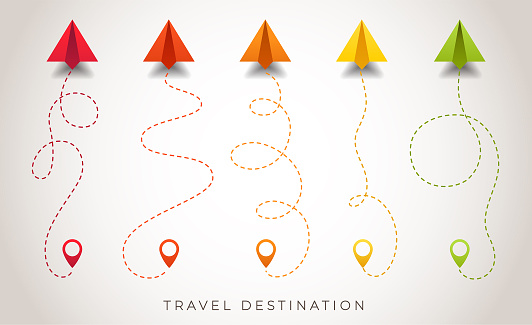 Paper airplane is in a dotted line. The waypoint is for a tourist trip. Colorful planes and its track are on a white background. Tourism and travel