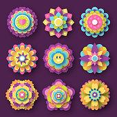 Colorful paper art flowers. Oriental mandala ornaments.
