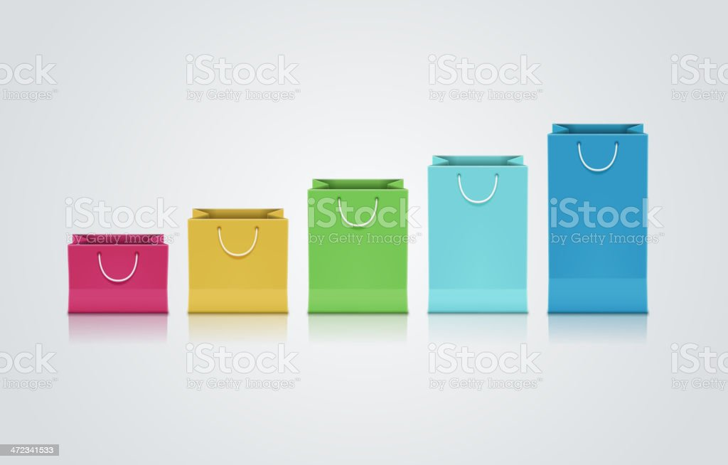 Colorful paper bags graph royalty-free stock vector art