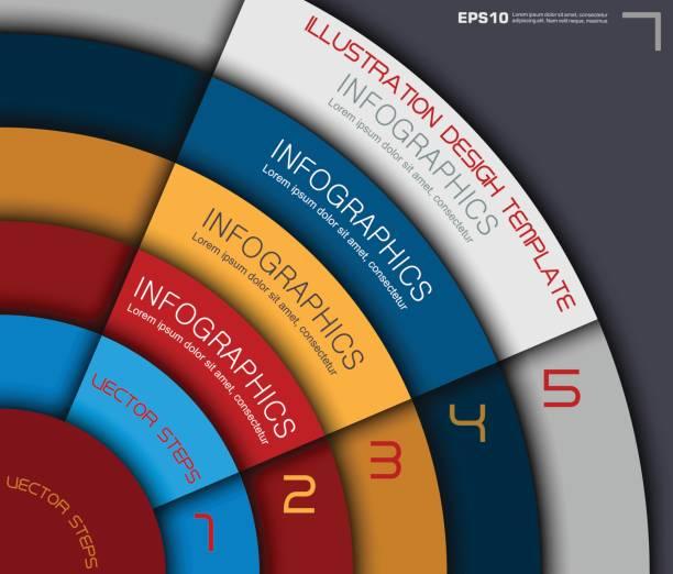 farbiges papier business infografiken im kreis stil - palettenbilderrahmen stock-grafiken, -clipart, -cartoons und -symbole