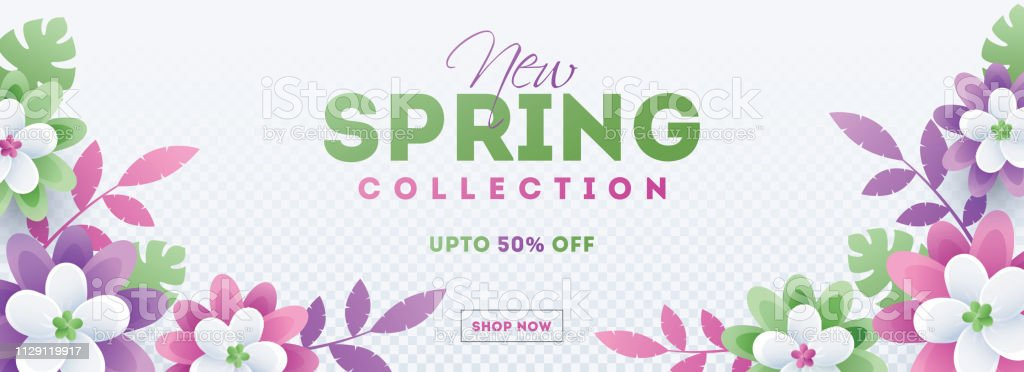 Colorful paper cut flowers decorated header or banner design for new spring sale concept. royalty-free colorful paper cut flowers decorated header or banner design for new spring sale concept stock illustration - download image now