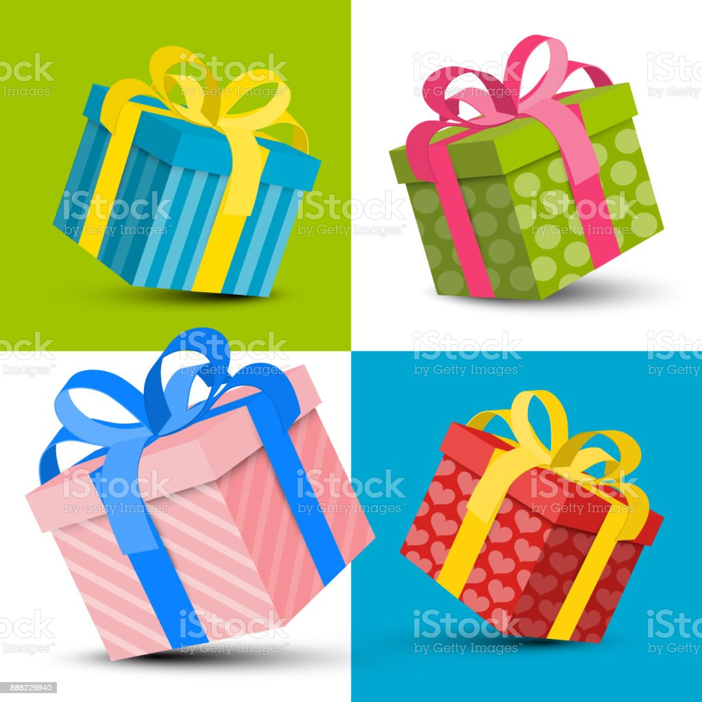 Colorful Paper Gift Boxes vector art illustration