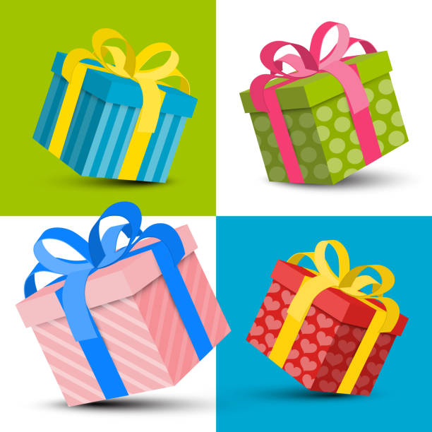 colorful paper gift boxes - prezent na urodziny stock illustrations