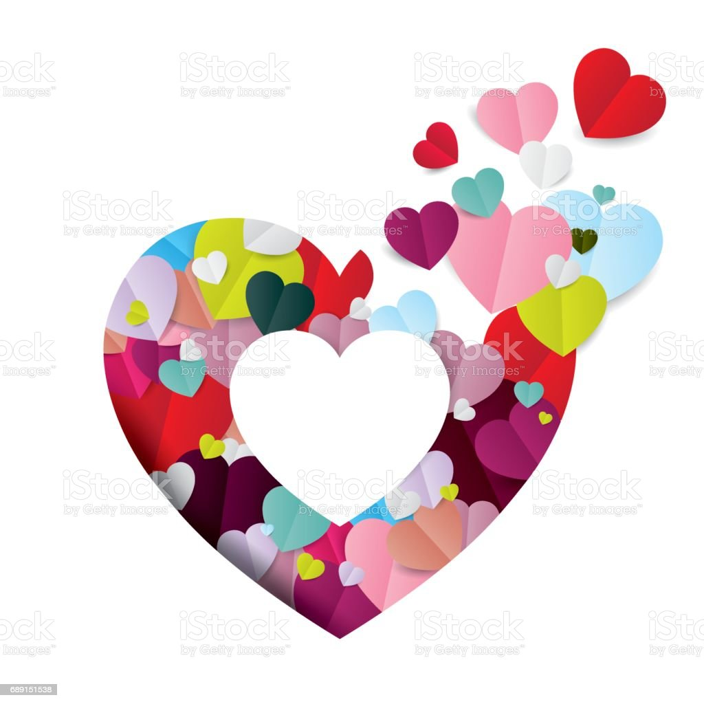 Colorful Paper Hearts Bursting From A Big Hollow Heart ...