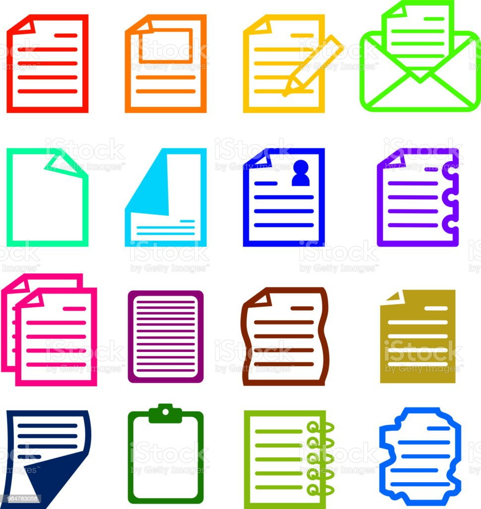 Colorful Paper icon set royalty-free colorful paper icon set stock vector art & more images of author