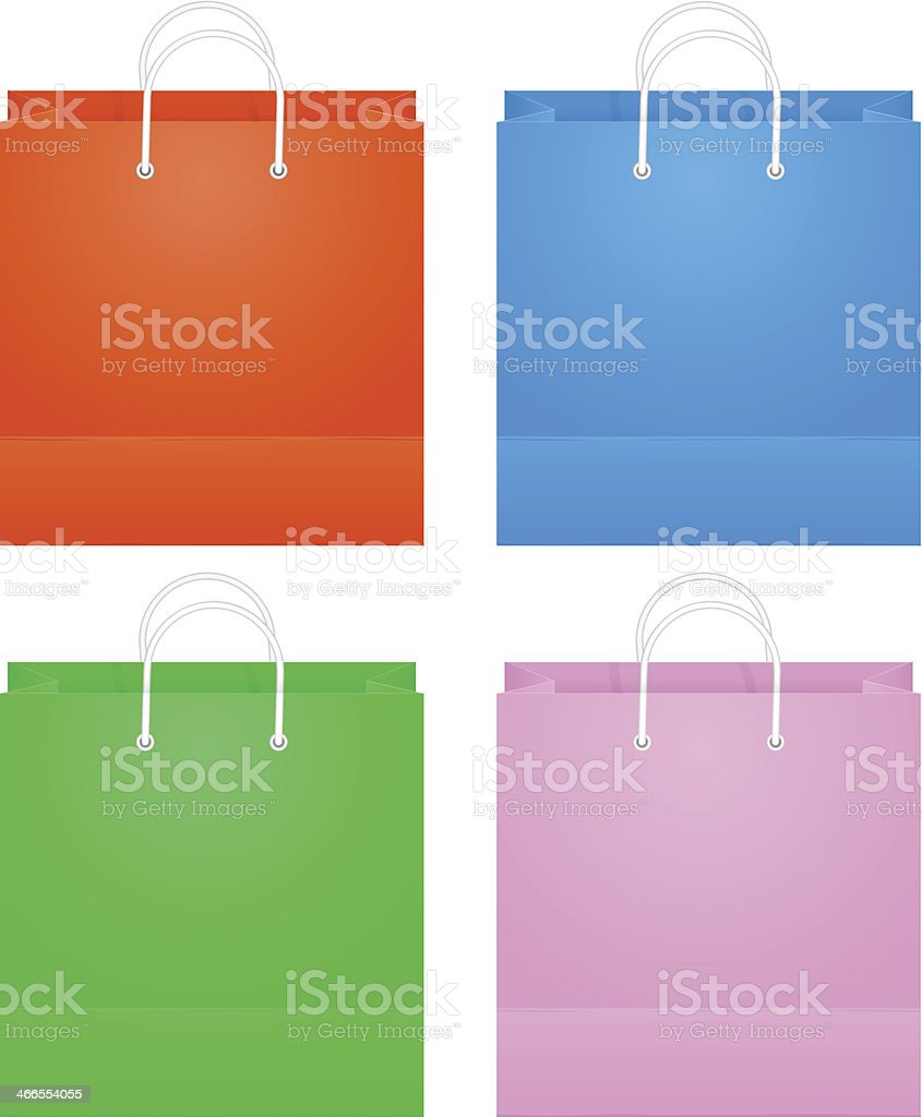 Colorful Paper Shopping Bags Isolated On White royalty-free stock vector art