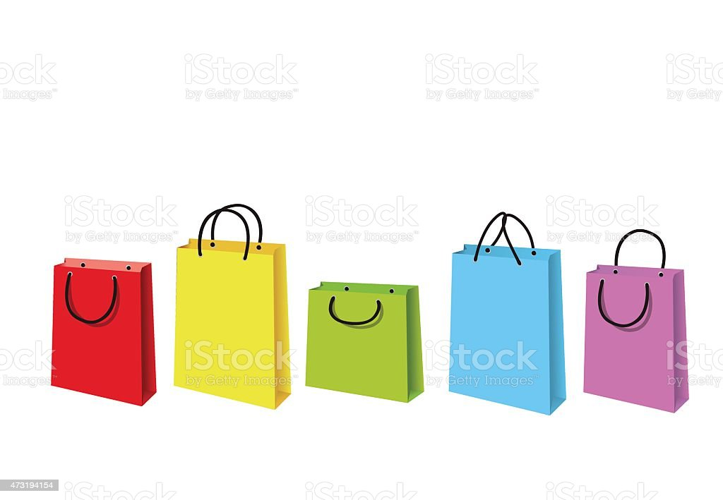Colorful paper shopping bags vector art illustration