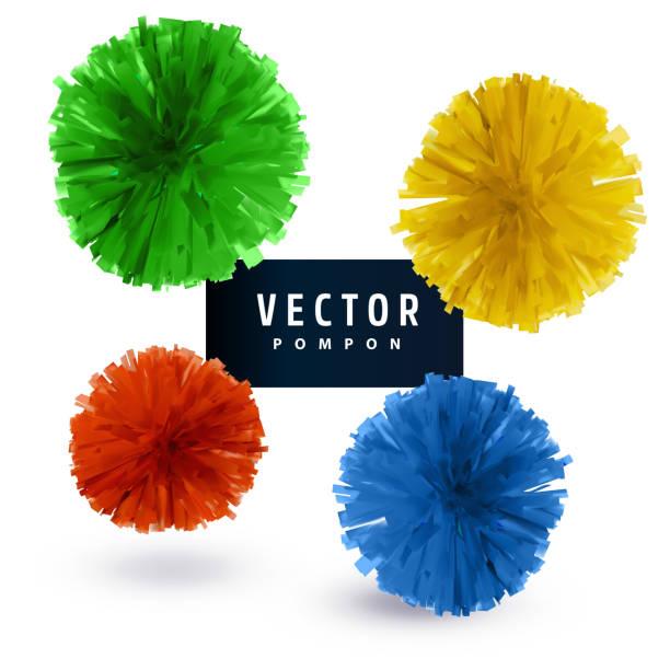 stockillustraties, clipart, cartoons en iconen met kleurrijke papier vector pompons geïsoleerd op een witte achtergrond. abstracte ronde ontwerpelement. - pompon