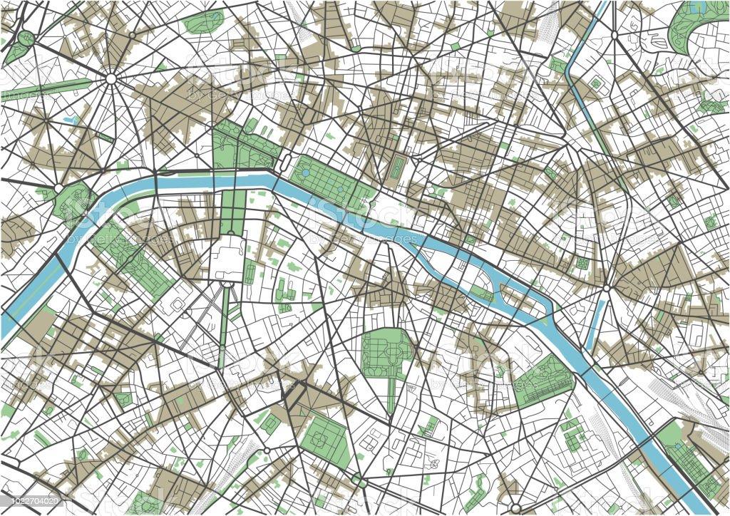 カラフルなパリ ベクトル地図 アイコンのベクターアート素材や画像を