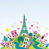 Eiffel's celebration. JPG and EPS. Vector