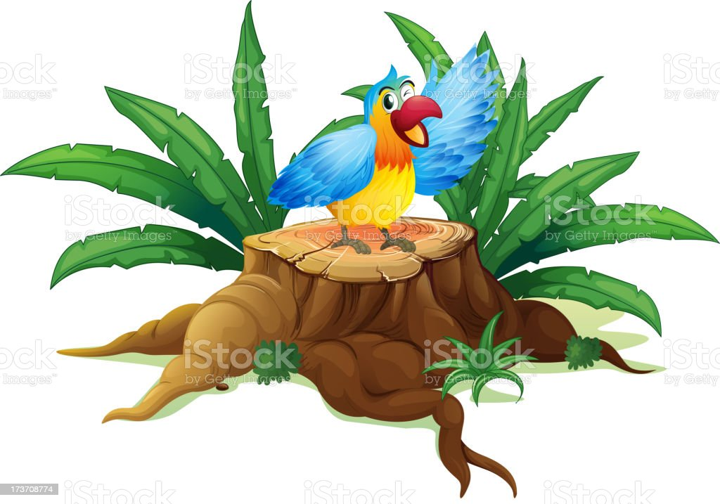 Colorful parrot above a stump royalty-free stock vector art