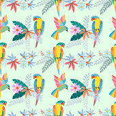 istock Colorful parrot on branch with flowers seamless pattern. 1208591152