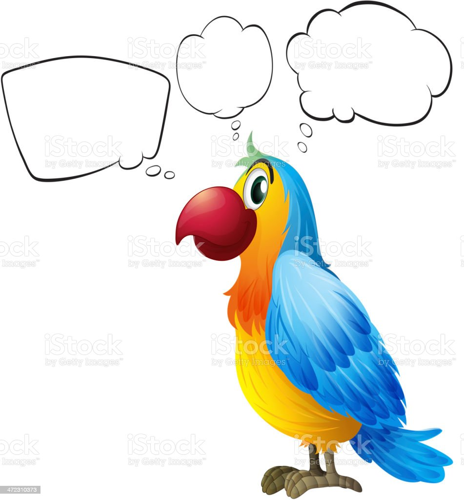 Colorful parrot thinking royalty-free stock vector art