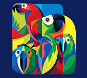 vector illustration of colorful parrots...