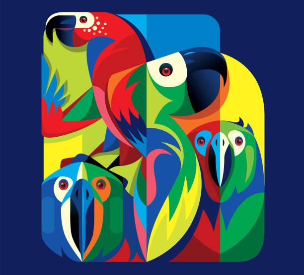 ilustrações de stock, clip art, desenhos animados e ícones de colorful parrots - arara