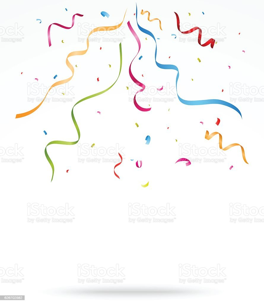 Colorful party confetti o white background vector art illustration