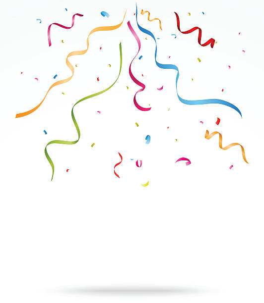 colorful party confetti o white background - streamer stock illustrations, clip art, cartoons, & icons